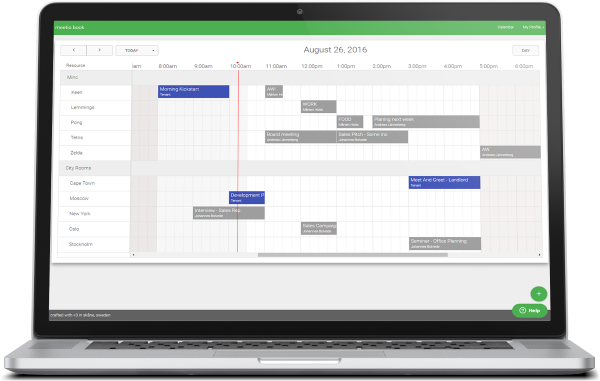 Meetio Book is a cloud based room scheduler that runs in your web browser or smart phone.