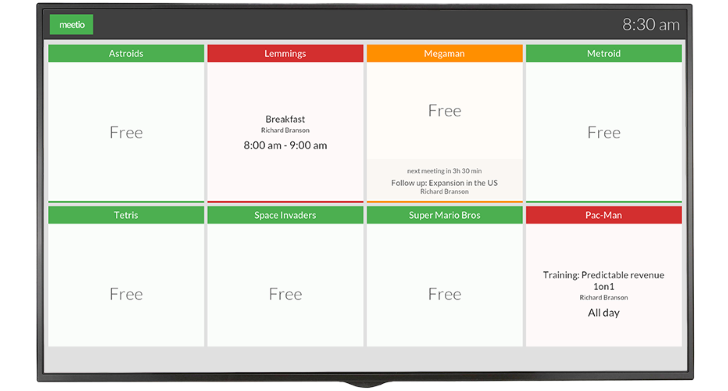 Meetio View is many meeting room managers in one screen