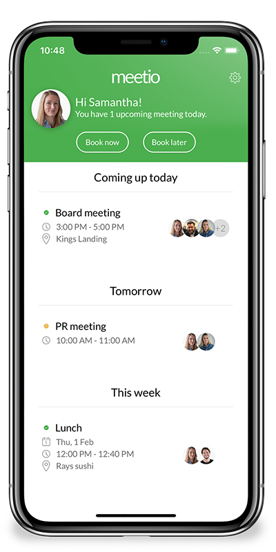 Screenshot of meetio scheduling app