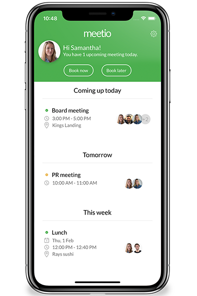Meetio App showing upcoming meetings and events