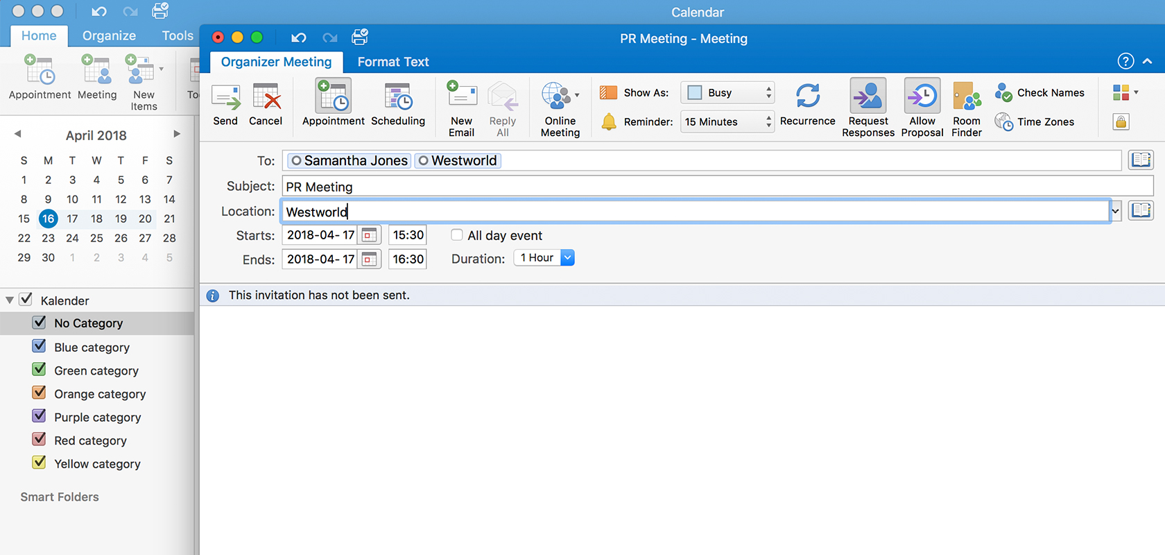 Screenshot of a meeting booking in Outlook