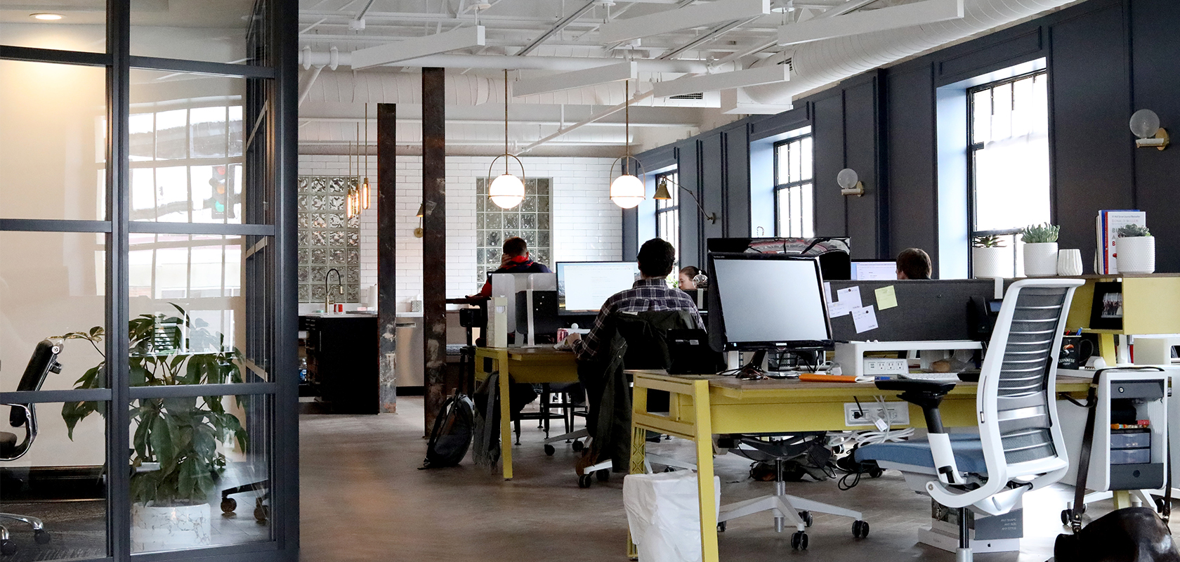 Modern office with open floor plan in industry style
